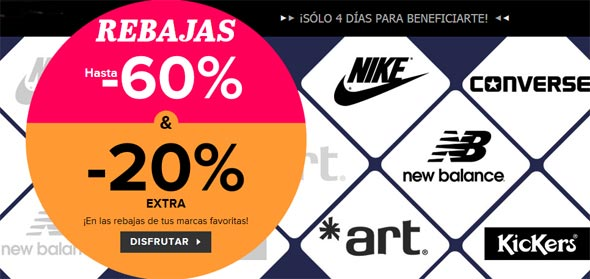 Rebajas en New Balance, Nike, Art, Converse y Kickers
