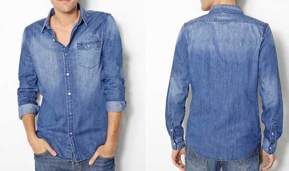Camisas baratas para hombre Camisa-con-corte-slim-de-denim