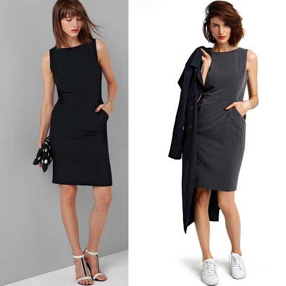 Vestido-sin-mangas-de-sarga-stretch-negro-liso