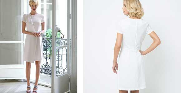LAURA CLEMENT Vestido drapeado de crepé - Liquidación de stock de ropa online