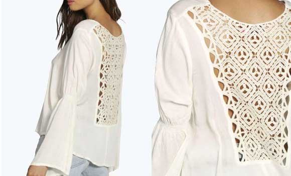 Rebajas Tops y Camisetas de crochet Frances-Crochet-Back-Fluted-Sleeve-Blouse