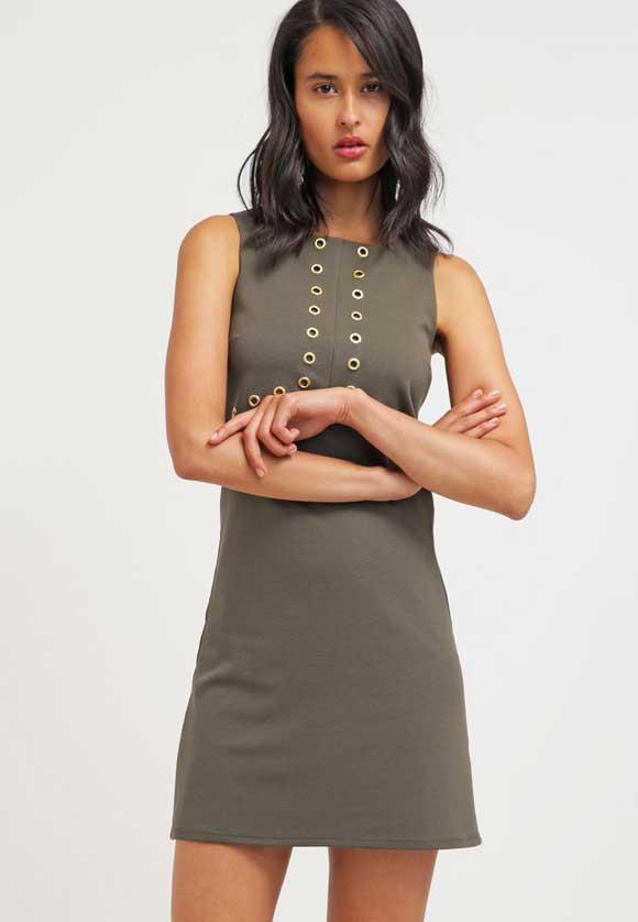 Miss-Selfridge-Vestido-de-algodón---darkgreen
