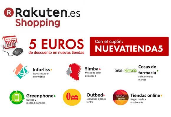 5 euros de descuento Nuevas tiendas Rakuten