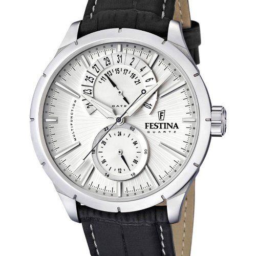 Festina F16573/1 – Reloj analógico de cuarzo para hombre con correa de piel, color negro