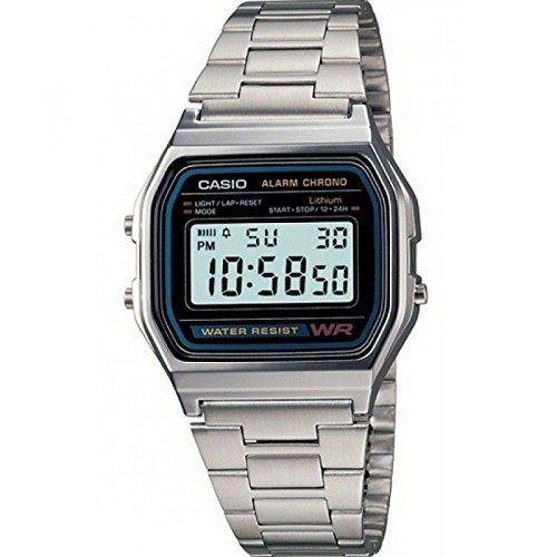 Casio A158WA – Reloj unisexo, correa de acero inoxidable color plateado Relojes
