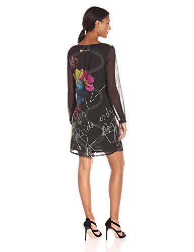 Desigual VEST_DESPINA, Vestido para Mujer, Negro (Negro 2000), 36 (Talla del Fabricante: 36)