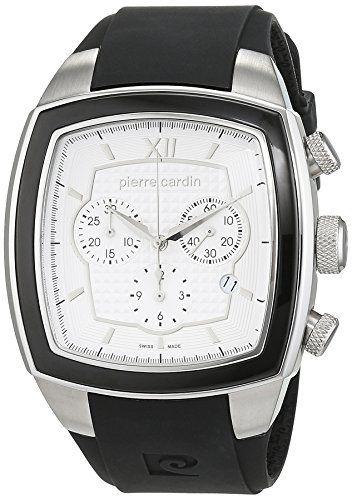 Pierre Cardin Général - Reloj cronógrafo de cuarzo para hombre, correa de caucho, color plata/plata/negro, Swiss Made