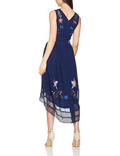 Frock and Frill Alia Bird Embroidered Dress, Vestido de Noce para Mujer, Azul (Marino)