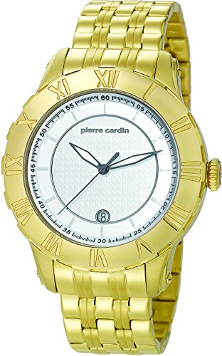 Pierre Cardin Parangon - Reloj analógico de cuarzo para hombre, color dorado/blanco/dorado