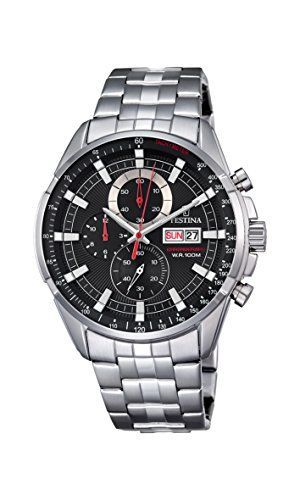 Festina Chrono–Reloj de cuarzo para hombre con cronógrafo para hombre (mecanismo de cuarzo, esfera negra y plata pulsera de acero inoxidable