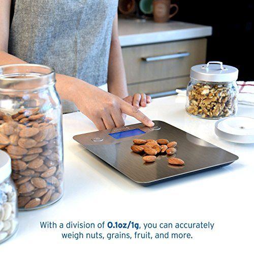 Etekcity Báscula Digital para Cocina, 5 kg / 11 lbs, Plataforma de Acero Inoxidable, con Gran Pantalla LCD e Almohadillas Antideslizantes, Color