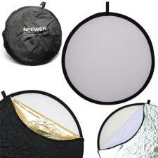 Neewer 110CM 43-Inch 5 en1 – Reflector de luz plegable de discos múltiples, color negro, oro, plata, transparente, blanco Accesorios Fotografía