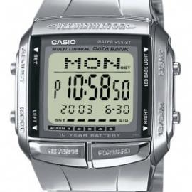 CASIO Collection DB-360N-1AEF – Reloj digital con correa de acero inoxidable para hombre (cronómetro, alarma, luz), color plateado