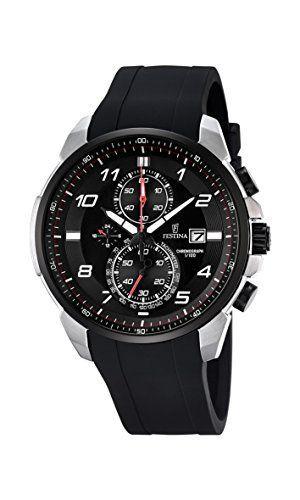 Festina CHRONO F6841/4 – Reloj de pulsera con cronógrafo para hombre (mecanismo de cuarzo, esfera negra y correa de caucho negro)