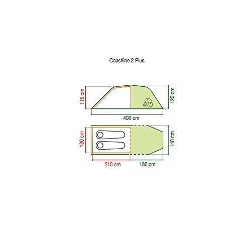 Coleman Coastline – Tienda de campaña (2 personas), color verde y gris