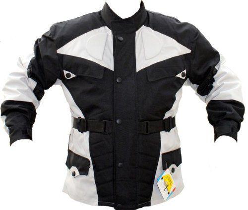 German Wear–Chaqueta de moto, color negro y gris claro