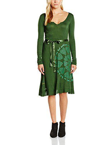 Desigual VEST_CAROLINA 2 REP - Vestido para mujer, color verde bronce 4033, talla 38