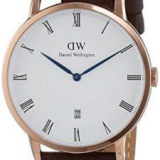 Daniel Wellington 1102DW Reloj con correa para hombre, color blanco/marrón oscuro Relojes Daniel Wellington