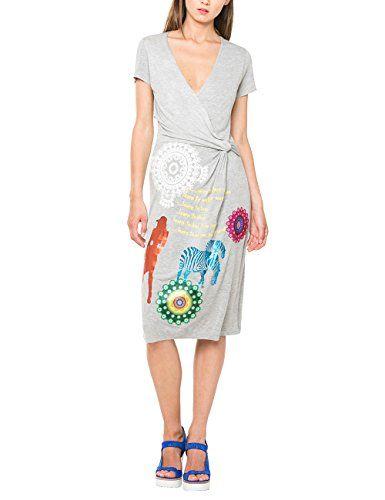 Desigual, IRIS ARC - Vestido para mujer, color gris vigore claro, talla L