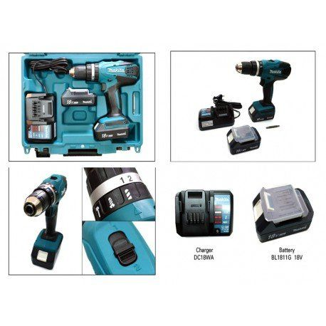 Makita HP457DWE – Taladro Percutor A Bateria 18V Litio-Ion 1.3 Ah
