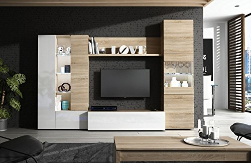 Habitdesign 016642F – Mueble de comedor con leds, acabado en Blanco Brillo y Roble Canadian, medida 260 cm de ancho