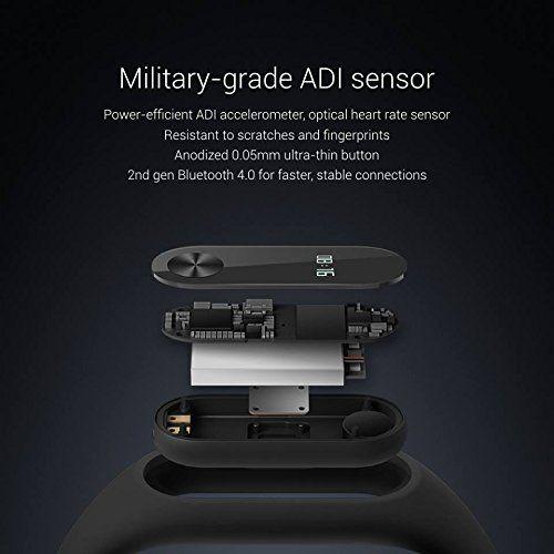 XIAOMI MI BAND 2 - Smartband cuantificadora - Sensor de ritmo cardíaco - Resistente al agua IP67 - Bluetooth 4.0 compatible con IOS y Android