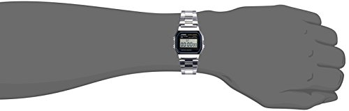 Casio A158WA-1DF – Reloj Unisex metálico Negro / Plata