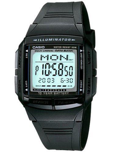 CASIO Collection DB-36-1AVEF – Reloj unisex de cuarzo, correa de resina color negro (con cronómetro, alarma, luz)