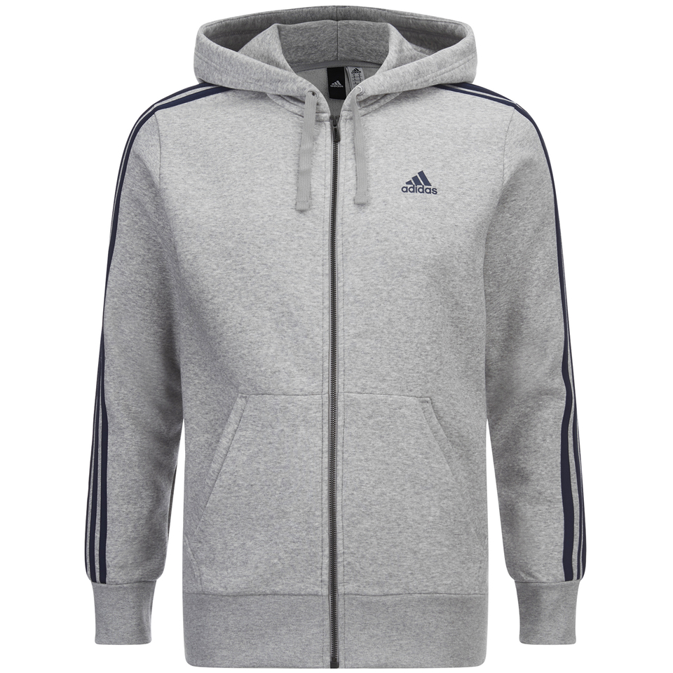 adidas Men's Essential 3 Stripe Fleece Hoody - Grey