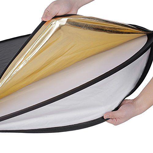 Neewer 110CM 43-Inch 5 en1 – Reflector de luz plegable de discos múltiples, color negro, oro, plata, transparente, blanco