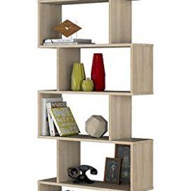Habitdesign 301011F – Estanteria Athena alta libreria abierta acabado color Roble Canadian, medidas 80 x 25 x 192 cm de altura