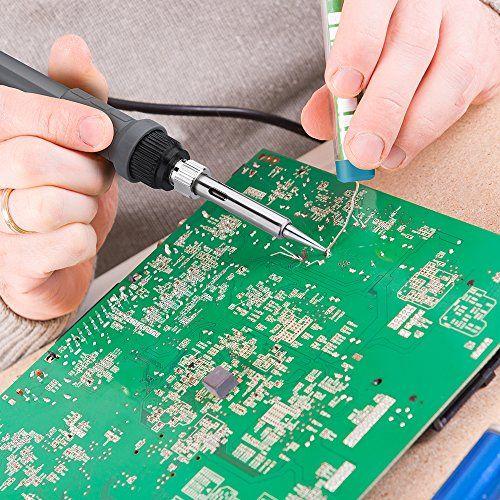 Kit del soldador, Victsing 60W 220V Soldador de estaño de Temperatura ajustable, 5pcs Puntas Diferentes, Soporte, Alambre de soldadura para el uso