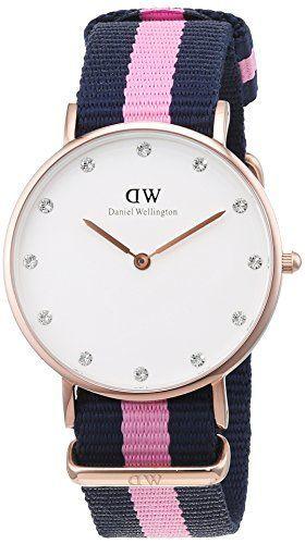 Daniel Wellington 0952DW - Reloj para mujer con correa de nylon - color azul marino/ rosa
