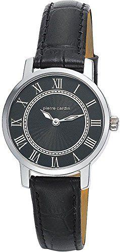 Pierre Cardin Special Collection - Reloj analógico de cuarzo para mujer, correa de cuero, color plata/negro/negro, Swiss Made