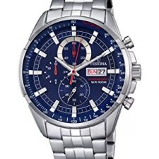 Festina Chrono–Reloj de cuarzo para hombre con cronógrafo para hombre (mecanismo de cuarzo, esfera azul y plata pulsera de acero inoxidable Relojes Festina