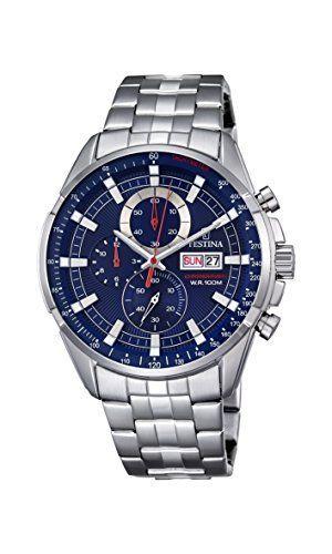 Festina Chrono–Reloj de cuarzo para hombre con cronógrafo para hombre (mecanismo de cuarzo, esfera azul y plata pulsera de acero inoxidable