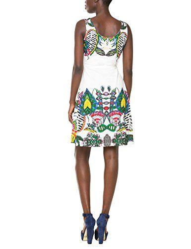 Desigual Sandra - Vestido para mujer, color blanco (algodón), talla 36 (Talla del fabricante: XS)