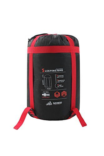 Semoo Saco de dormir impermeable, de 6-22ºC, 190T, encapuchado para adultos, con bolsa de compresión, Azul