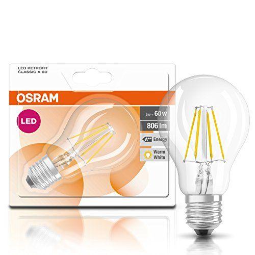 Osram Retrofit Classic A – Lámpara LED, E27, 6W, color blanco