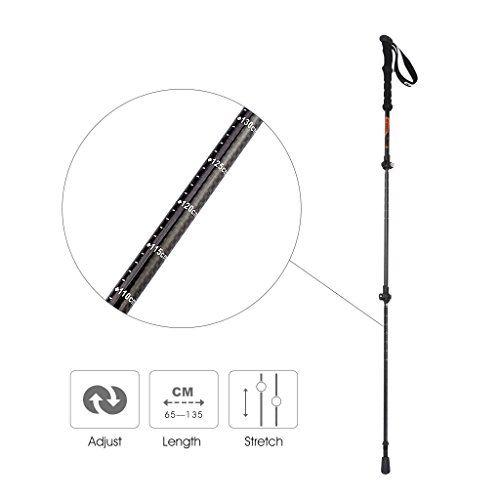 Enkeeo - Pack de 2 Bastones de Senderismo Extensible, Fibra de Carbono