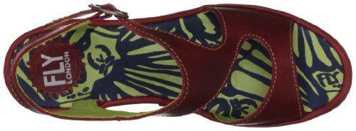 FLY London Bianca – Sandalias de vestir de cuero para mujer, Rojo