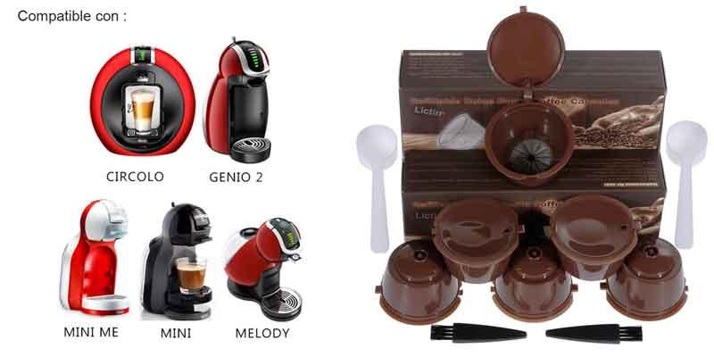 Pack Cápsulas Filtros de Café Recargable Reutilizable para Cafetera Dolce Gusto