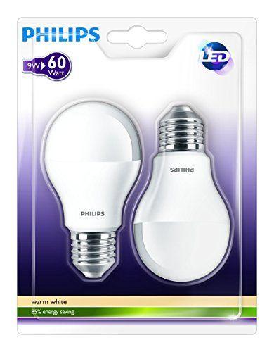 Philips 929000220661 – Pack de 2 bombillas LED estándar mate, 60W, Bombillas LED