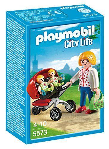 Playmobil Guardería – Mamá con carrito de gemelos, playset (5573)