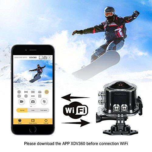 MIXMART Cámara Deportiva Camara Angular 360 grados 4K WiFi