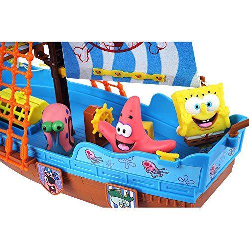 Bob Esponja – Barco pirata, incluye figura de Sponge Bob, Gary y Patricio