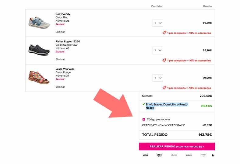 Código Descuento hasta el 30% en zapatos