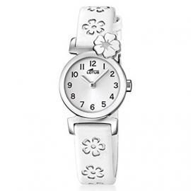 Lotus 18174/1 – Reloj de niña de cuarzo, correa blanca. Ideal