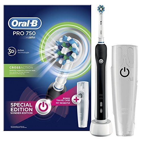 Oral-B PRO 750 CrossAction - Cepillo eléctrico recargable, pack
