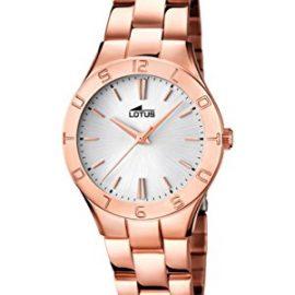 Lotus  0 - Reloj de cuarzo para mujer, con correa de acero inoxidable,